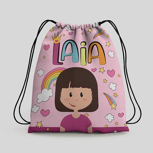 Mochila saco infantil Arco Iris Rosa