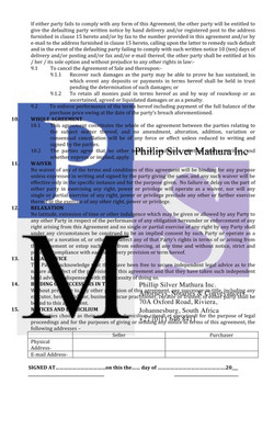 Agreement of Sale (pg 2)