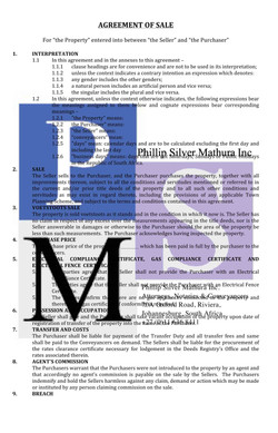 Agreement of Sale (pg 1)