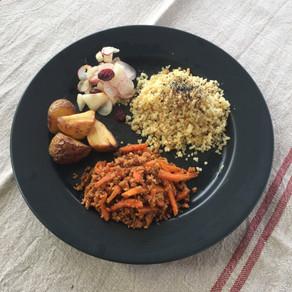 Menu complet # carottes au soja # pommes de terre au four #radis et poires # boulgour