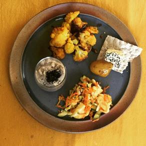 menu complet #crème de champignons, choux fleurs rôtis et salade épicée