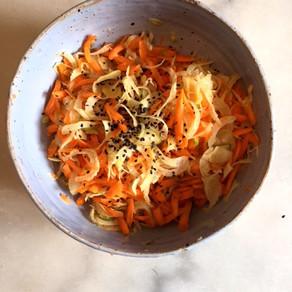 Fenouil et carottes au gingembre #croquant #acide #vert # orange