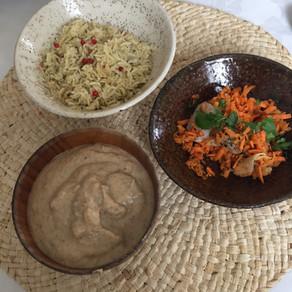 #menu complet #crémeux de champignons céleri rave #carottes coriandre # riz baies roses