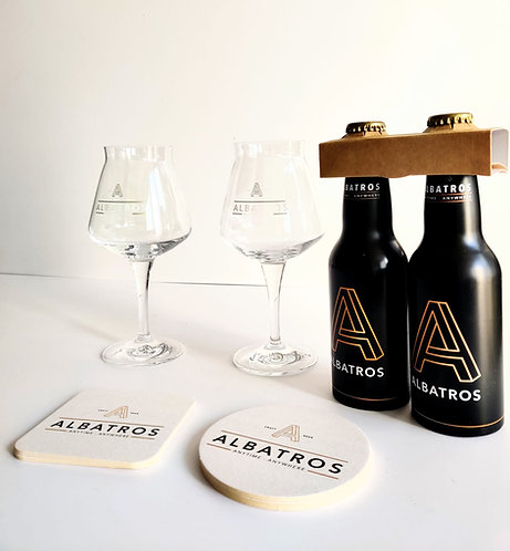 Coffret 4 Bières Albatros + 2 Verres