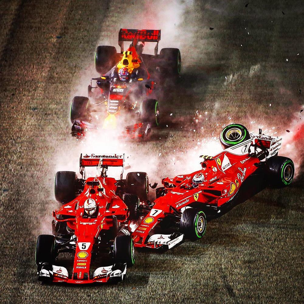 Le crash impliquant M. Verstappen, S. Vettel et K. Räikkönen au Grand Prix de Singapour / Crédit photo: Compte Instagram Formula 1 (@f1)