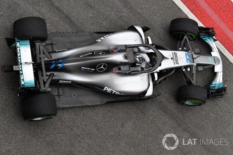 Les couleurs retravaillées de la Mercedes W09 de Valtteri Bottas. La touche de bleu marque une nouvelle orientation de la marque allemande vers la technologie électrique.—Sutton Motorsport Images