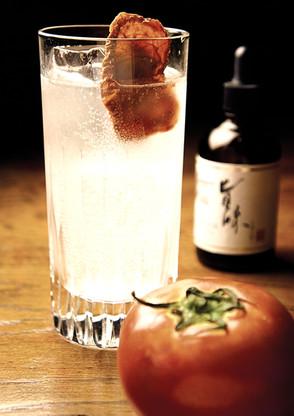 Clear tomato gin fizz