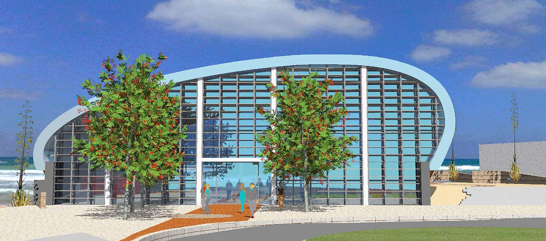 אולם ספורט נופי ים מרחבים אדריכלות נוף ל