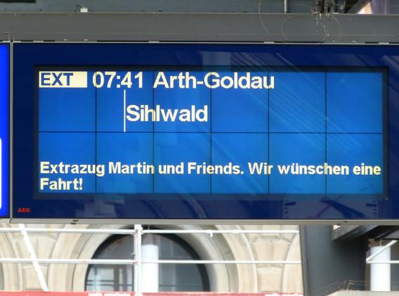 Anzeigetafel in Zürich HB.