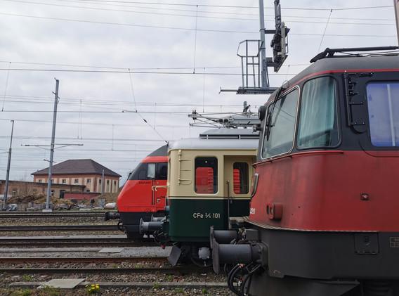 Von hinten nach vorne: Lok2000, unsere Dame 1938, Re420 Lion 1967-1985.