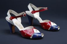 LaValle shoes, red, white, and blue leather, metal star studs, 1938 – 1942, Museum at FIT