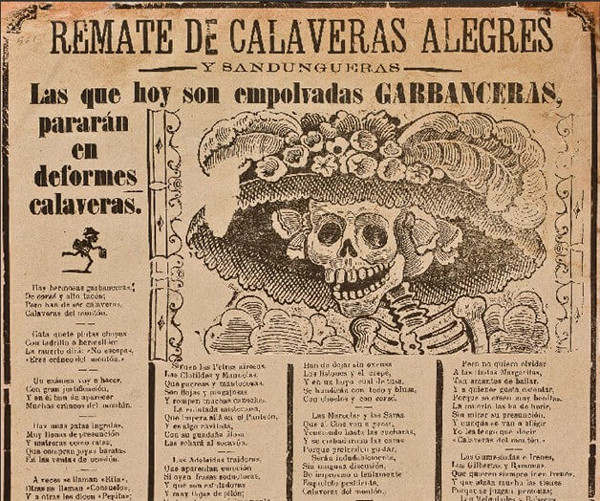 Imagem: Calavera de la Catrina (Crânio da Dândi Fêmea), do portfólio 36 Gravuras: José Guadalupe Posada.