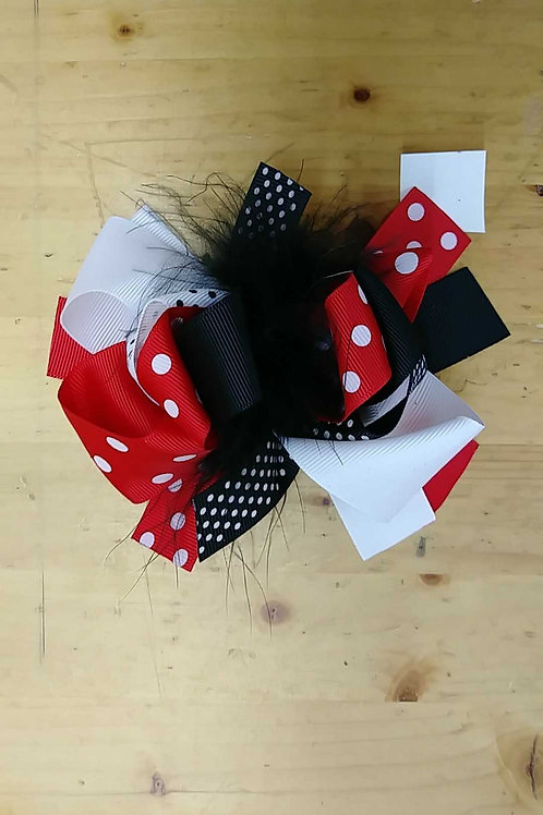 Minnie red dot 6 inch hairbow clip