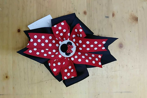Minnie Mouse hairbow clip red