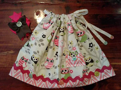 Owl dress and hairbow