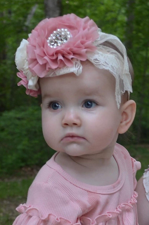 Mauve, Cream Headband