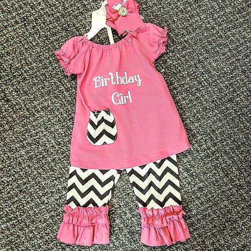 Pink chevron 2 pc birthday set