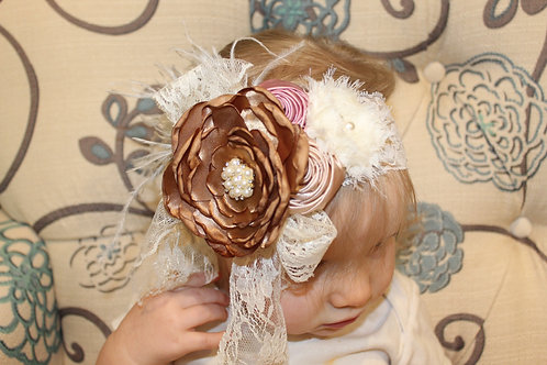 Mauve, Brown Hairbow - Rosebud