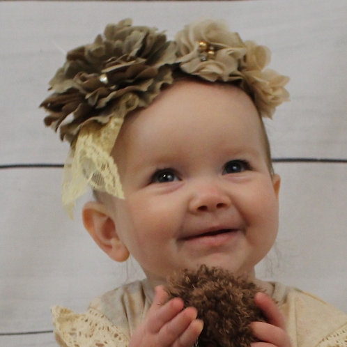 Brown Lace Hairbow