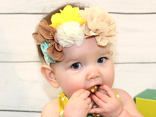 Brown, Yellow, Teal Headband - Tabitha