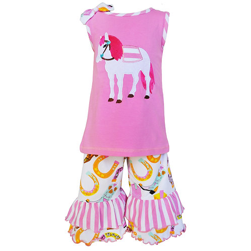 Pink Horse Ruffle Set