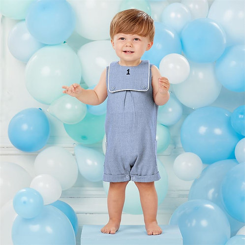 Blue Seersucker Shortall with '1' Bib