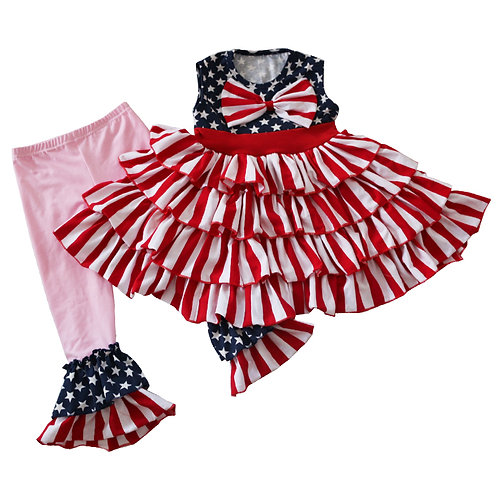 4th of July Ruffly Dress & Capri set