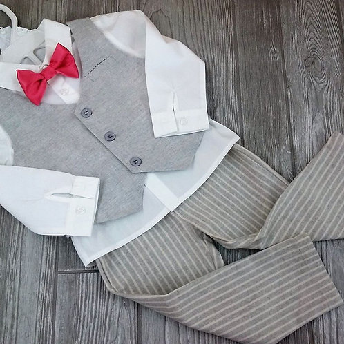3 Piece Gray Suit Set
