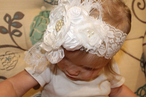 White or Ivory Formal Hairbow