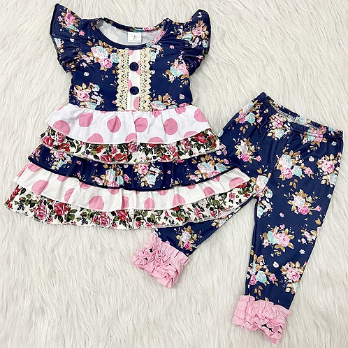 Girls Navy Ruffle Set