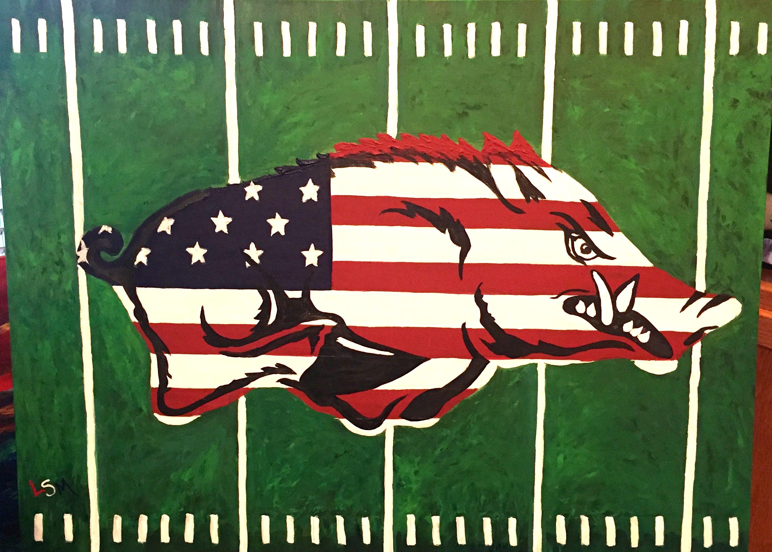 chases football hog