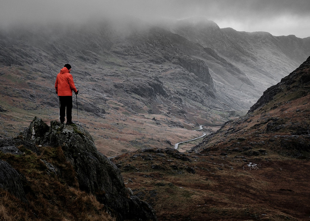 Gary Gough in Snowdonia, North Wales. Photography in bad weather