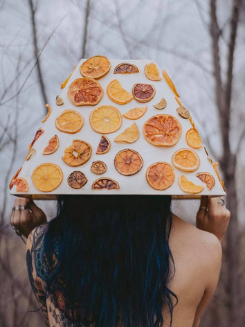 Lampshade made out of real citrus