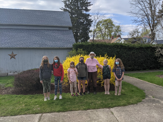 Girl Scout's gardening with Miss Pat