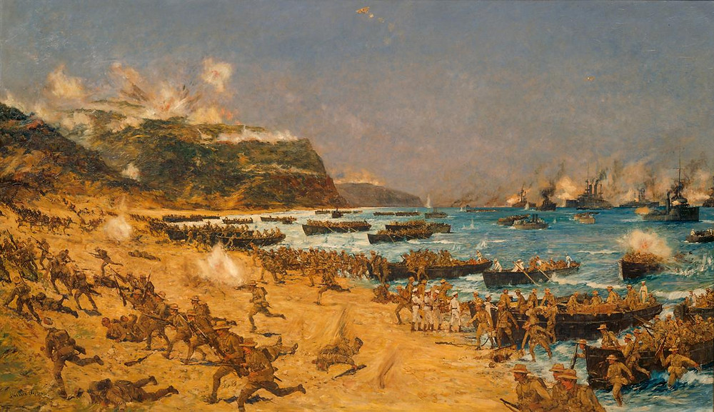 ANZAC forces storm the cove, 25th of April, 1915