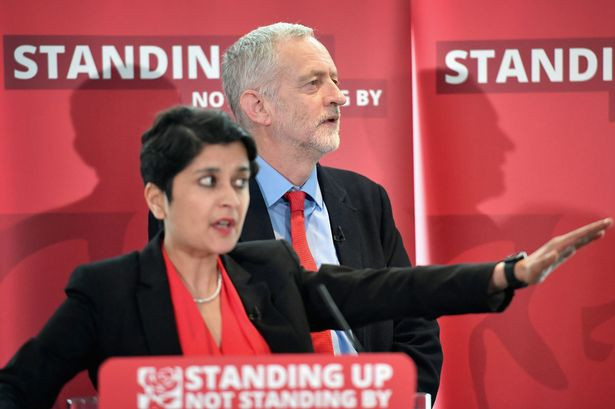 """Labour leader Jeremy Corbyn with Shami Chakrabarti, a Labour peer who produced a report on anti-Semitism within the party which was widely described as a """"whitewash""""."""