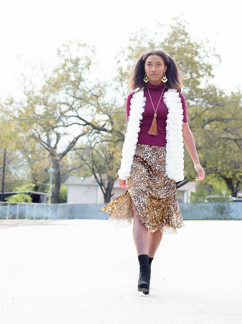 Reversible animal print skirt