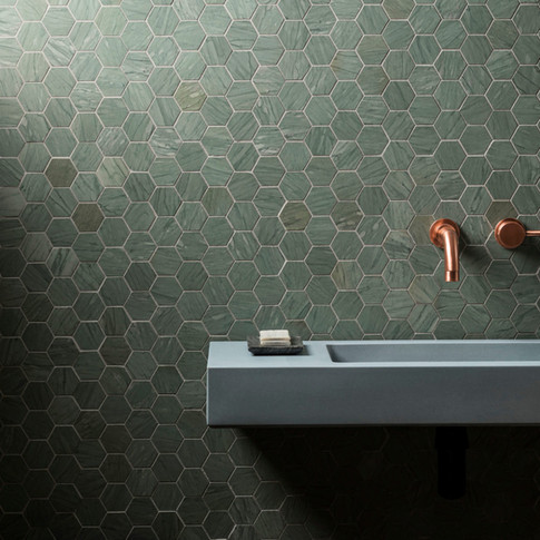 Verdi-Capri-Honed-Marble-Hexagon-Mosaic-