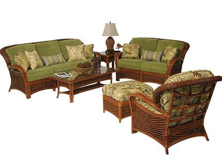 Wicker living room furniture at Island Furniture Atlantic Beach NC