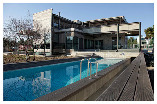 SE facing exterior, pool