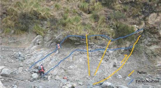 Pliegue anticlinal por propagación de falla inversa afectando a las calizas de la unidad CMG, en la ladera sur de la Quebrada de Santuyo.
