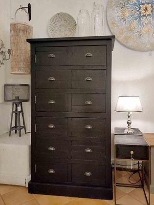 Vaisselier armoire noire deux portes bois recyclé