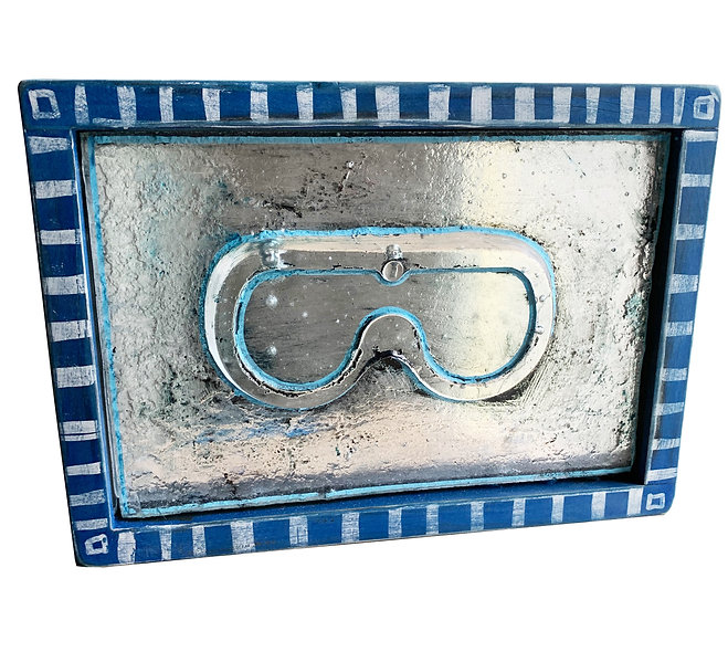 Goggles with Blue Striped Frame