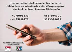 Emite SSP recomendaciones para evitar ser víctima de extorsión telefónica, en región Zamora