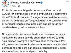 Reprueba Gobierno del Estado agresión a convoy de vacunación