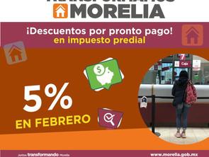 Gobierno de Morelia invita a aprovechar 5% de descuento en el predial todo febrero