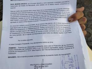 Presenta Raúl Morón JDC ante Tribunal Electoral; busca resolución definitiva por su candidatura