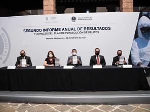 Recibe Congreso del Estado informe de resultados de la FGE