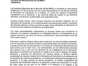 Indignado el SNTE llama la atención del gobernador Silvano Aureoles