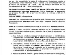 Se filtra documento en el que INE ratificará perdida de candidatura de Morón al Gobierno del Estado